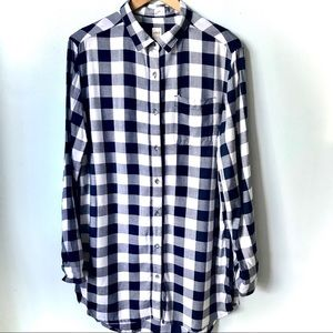 Tops - JAG Magnolia Tunic Plaid Navy Blue and White
